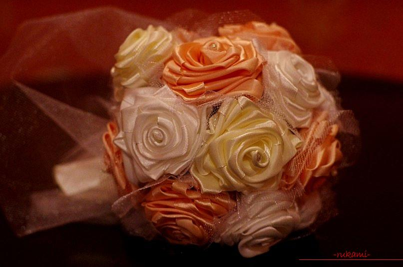 A wedding bouquet of satin ribbons. Photo №1