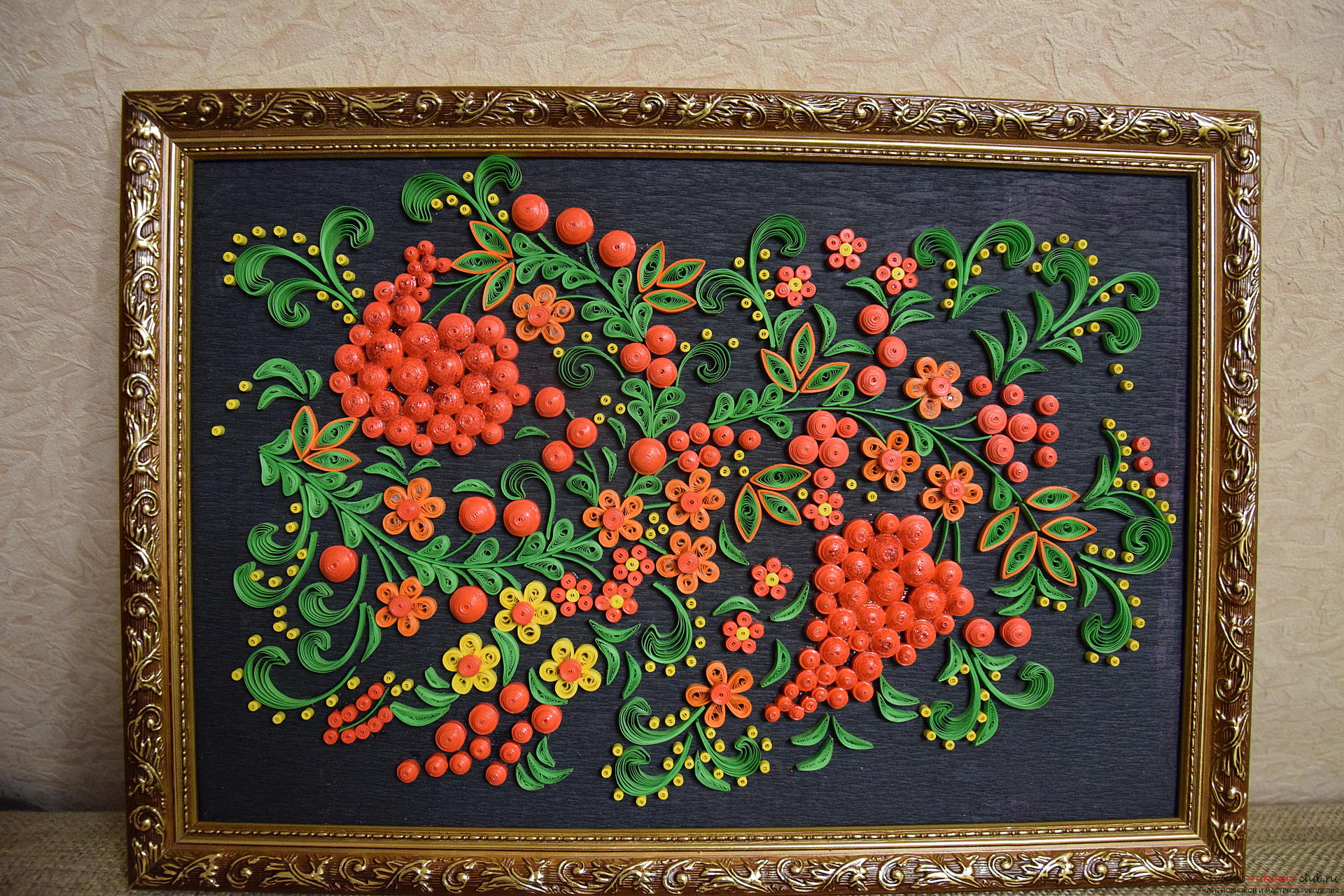 "Painting in the technique of quilling ""Rowan"". Photo №1"
