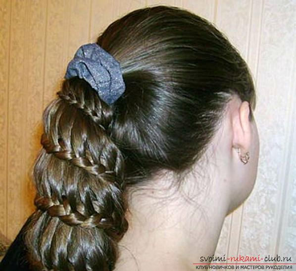 Hairstyles from pigtails for girls for every day. Photo №4