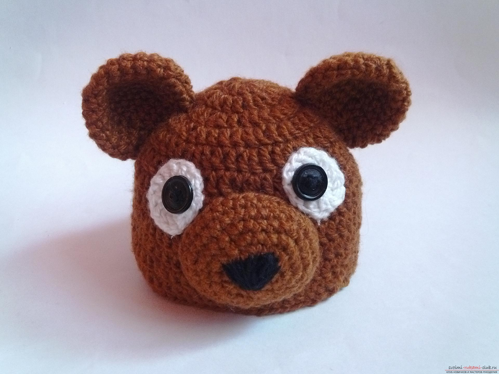 This master class will teach how to tie a cap for newborns - a cap-bear crochet. Picture number 1
