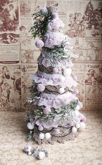 Vintage Christmas tree made of ribbons