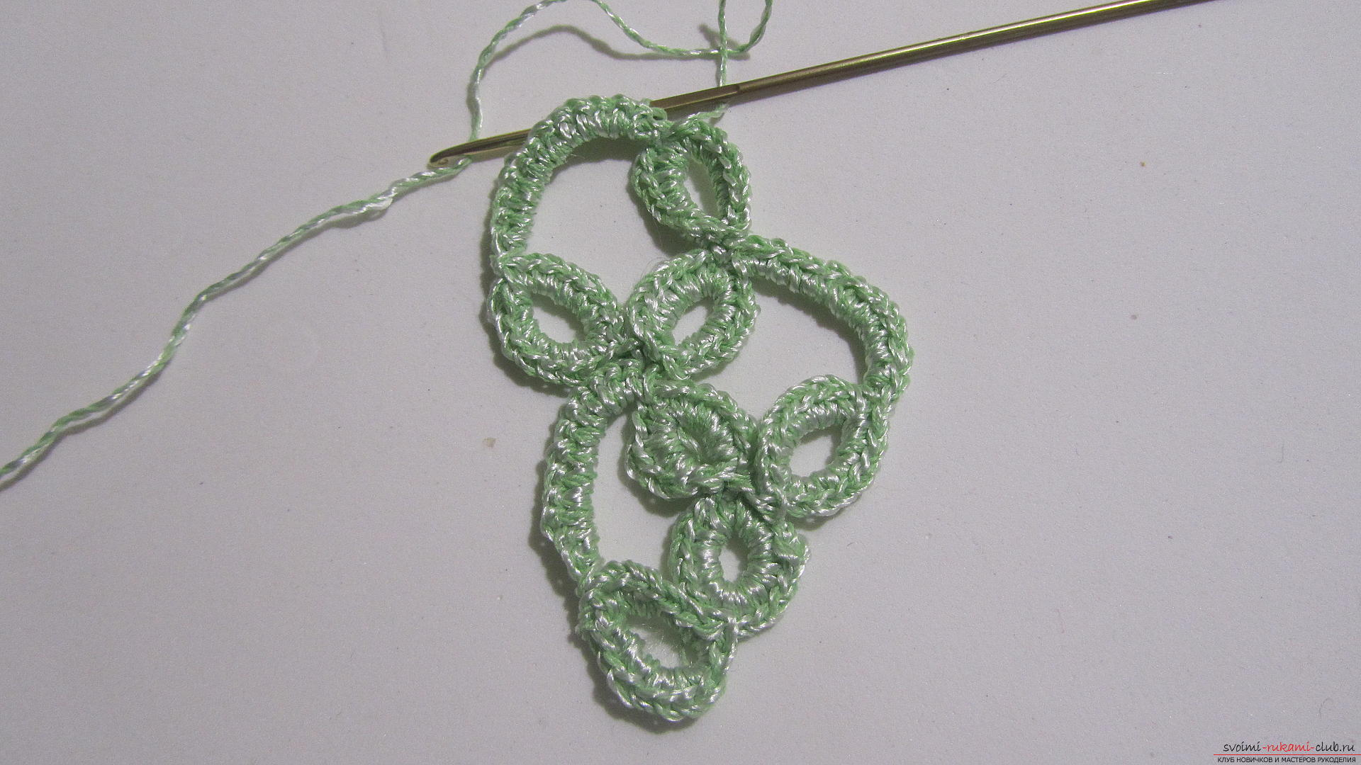 This master class will tell you how to create a crocheted knitted braid in the technique of ribbon lace. Photo №29