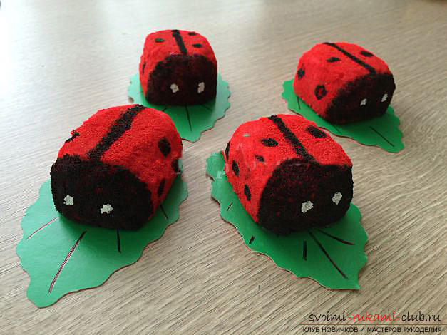 How to make a gift by March 8 with your own hands - a ladybug from a foam sponge. Photo №13
