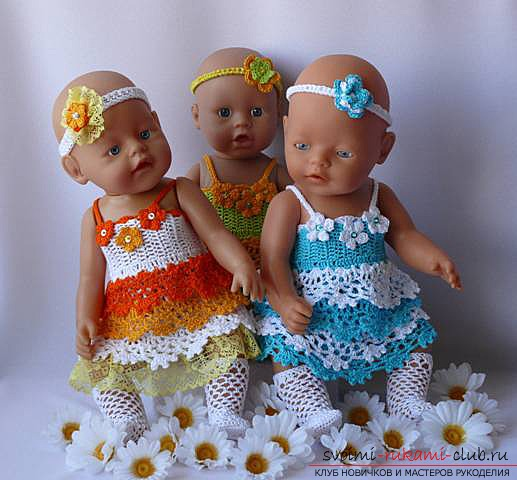 Clothing for dolls with their own hands, which can be performed by sewing or knitting. Photo of puppet clothing and patterns for its manufacture. Schemes for knitting clothes for dolls .. Picture №1
