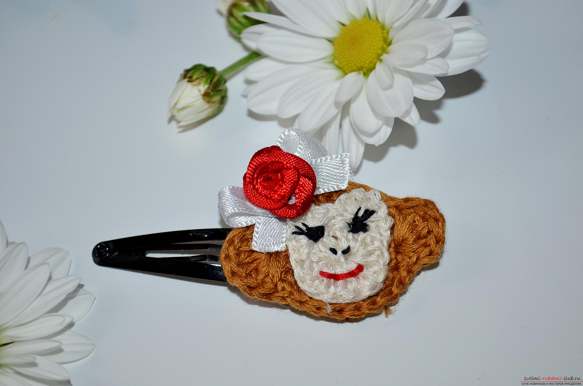 Photo to crochet lesson hair clips