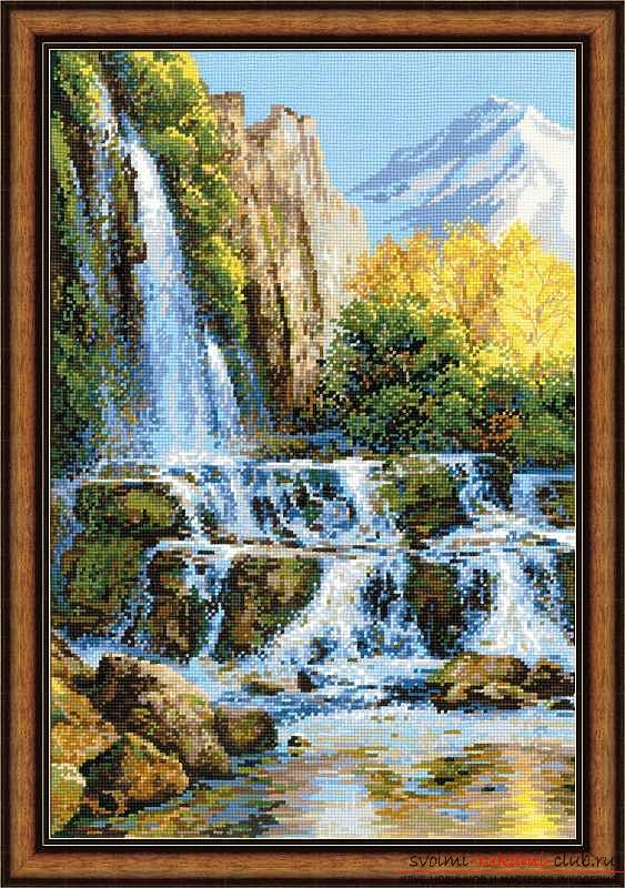 Cross-stitch embroidery of landscapes with schemes for beginners. Photo №1