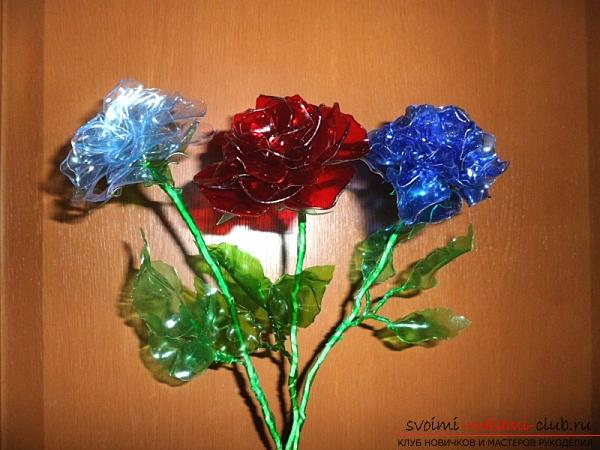 Crafts from plastic bottles with their own hands, how to make flowers from plastic bottles, cornflowers from plastic bottles, roses from bottles with their own hands .. Photo №13