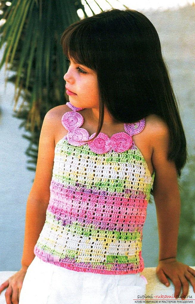 How to crochet a summer T-shirt for children of different ages with diagrams and descriptions .. Photo # 1