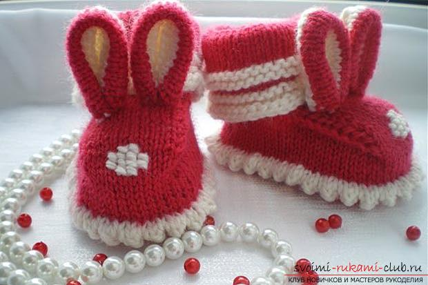 Unique baby booties with knitting needles for children. Photo №8