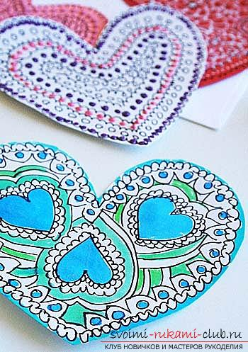 Valentine's Day gifts with your own hands, various variations of making Valentine's cards with your own hands, a magnet in the form of a heart as a gift to your beloved .. Photo №6
