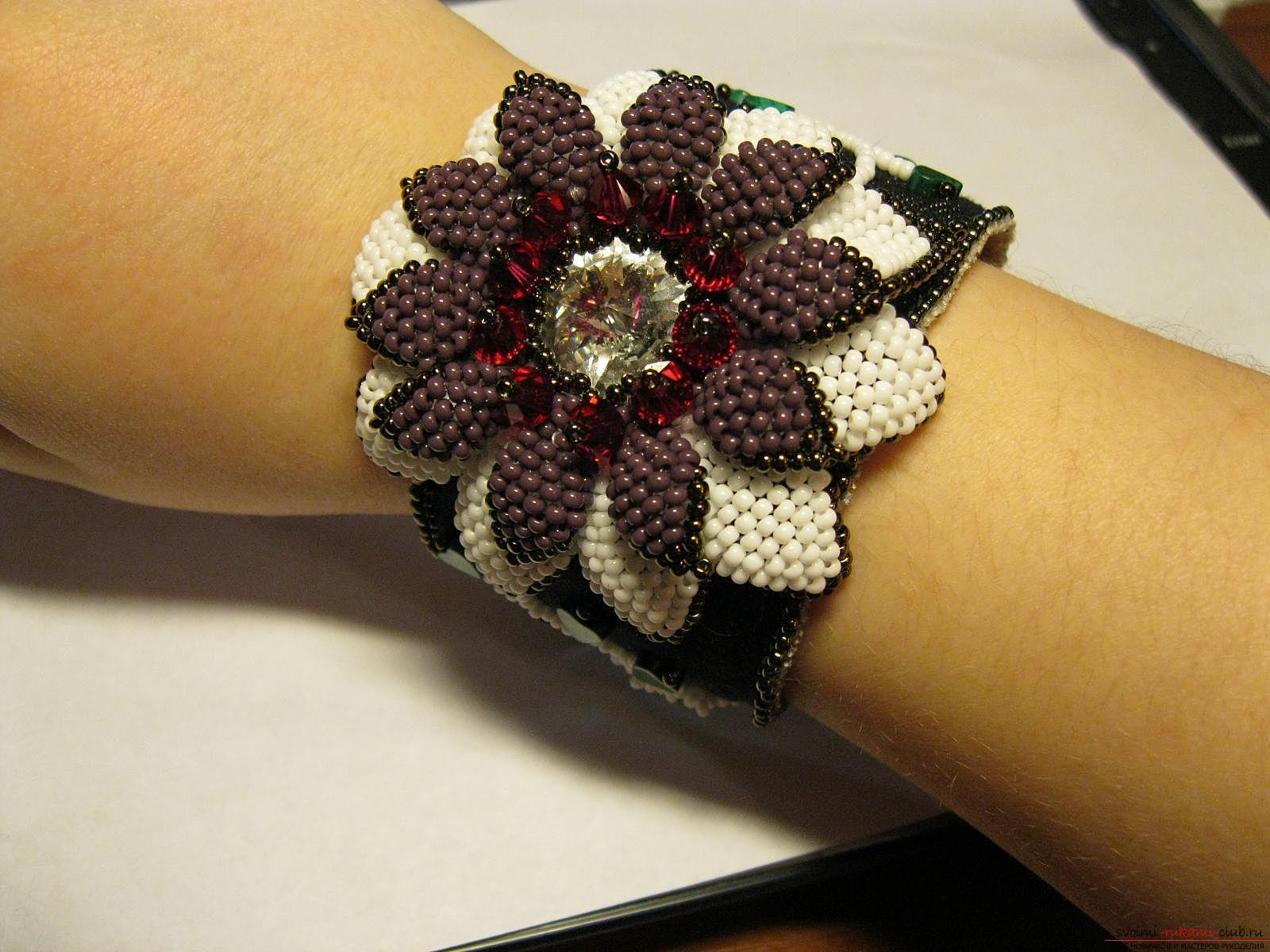 Handmade bracelet with a flower of beads. Photo # 2