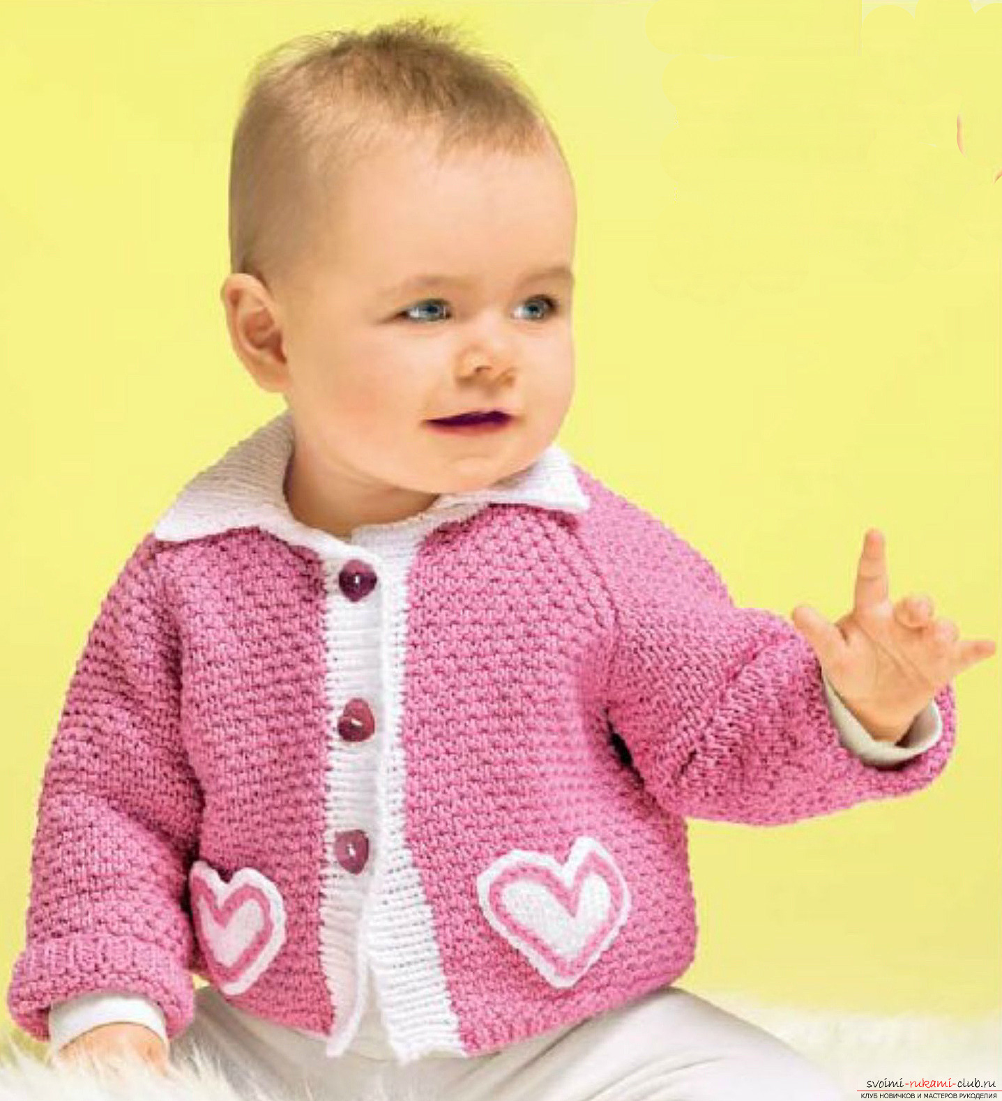Knitting a baby blouse with knitting needles. Diagram and photo for beginner needlewomen. Photo №1