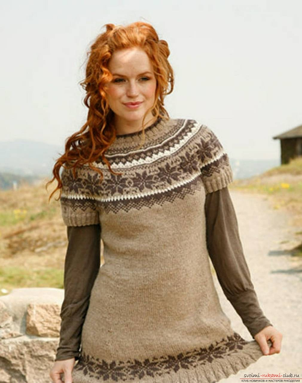 knitted knitting sweater with a Norwegian pattern. Photo # 2