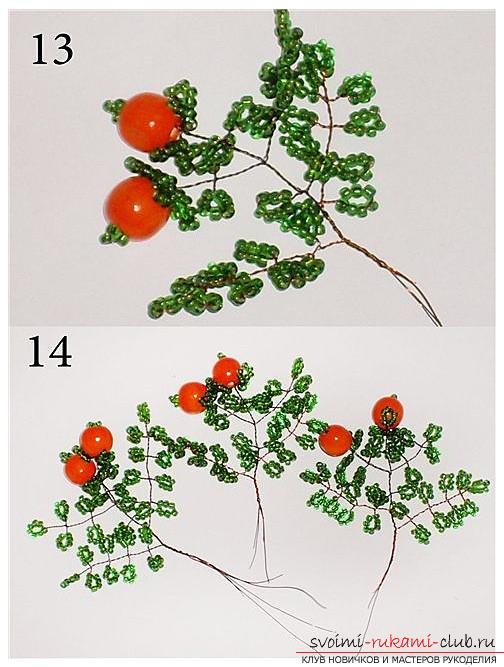 Detailed step-by-step photos and description of weaving of bead trees, two master classes .. Photo # 5
