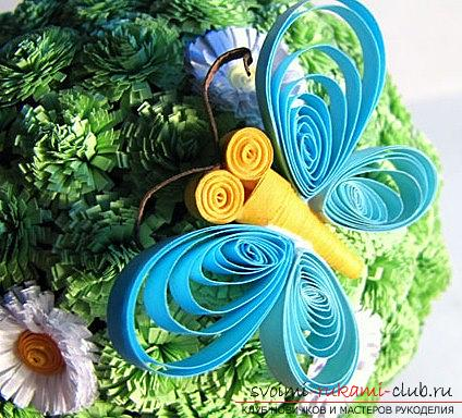 Installation of an abstract tree in the technique of quilling with flowers - a master class. Picture №10