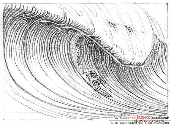 Lesson of drawing a sea wave. Photo # 23
