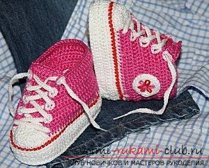 Free crochet knitting patterns for crochets, description of knitting striped pinets, pinets of sneakers and pinets