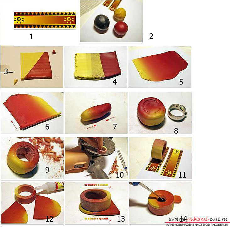 Gradient of polymer clay for beginners. Photo # 2