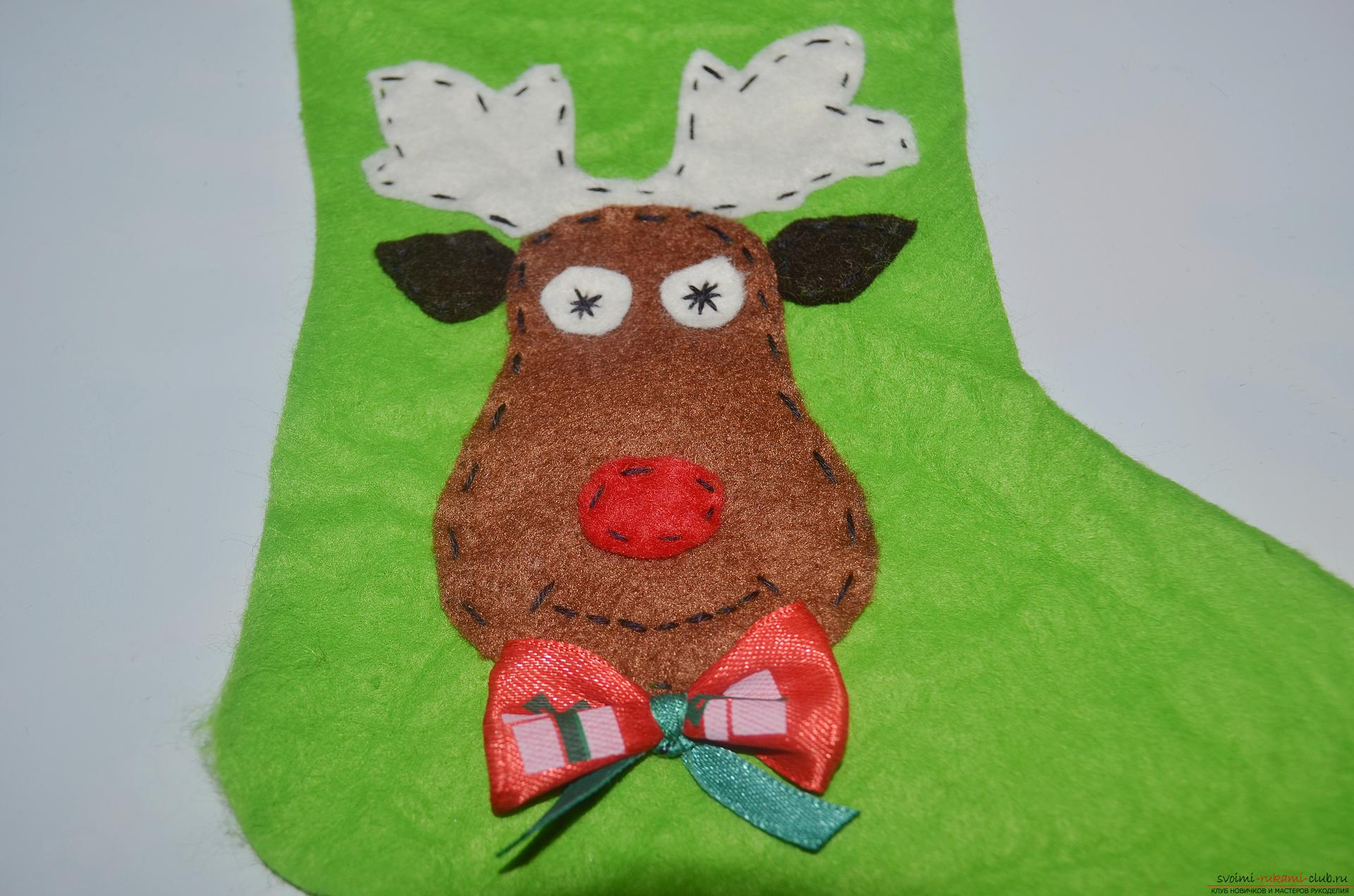 In the New Year 2016 you need to decorate the Christmas tree with a special New Year toy, such as a Christmas boot. New Year's hand-made articles are made of simple felt. Photo # 7