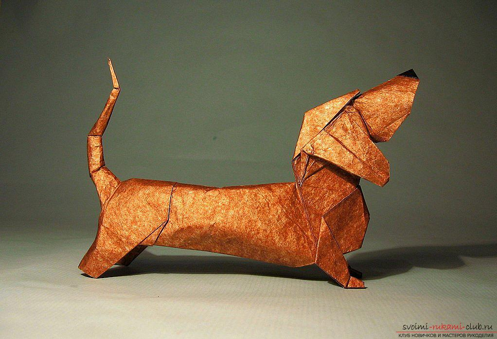 Schemes of addition of figurines of dogs in origami technique. Photo №4