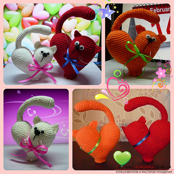 We knit an amigurumi cat in the shape of a heart with our own hands with a photo and description. Photo # 2