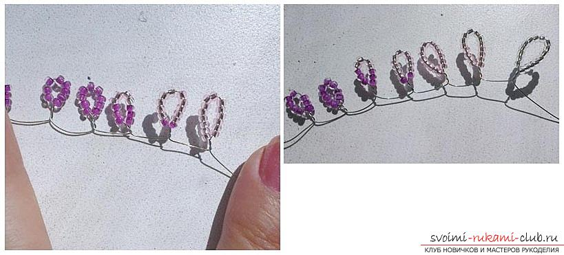 How to weave wisteria from beads, step-by-step photos and a description of the wickerwork of Japanese and Chinese wisteria in loop technique, tips on decorating crafts. Picture №3