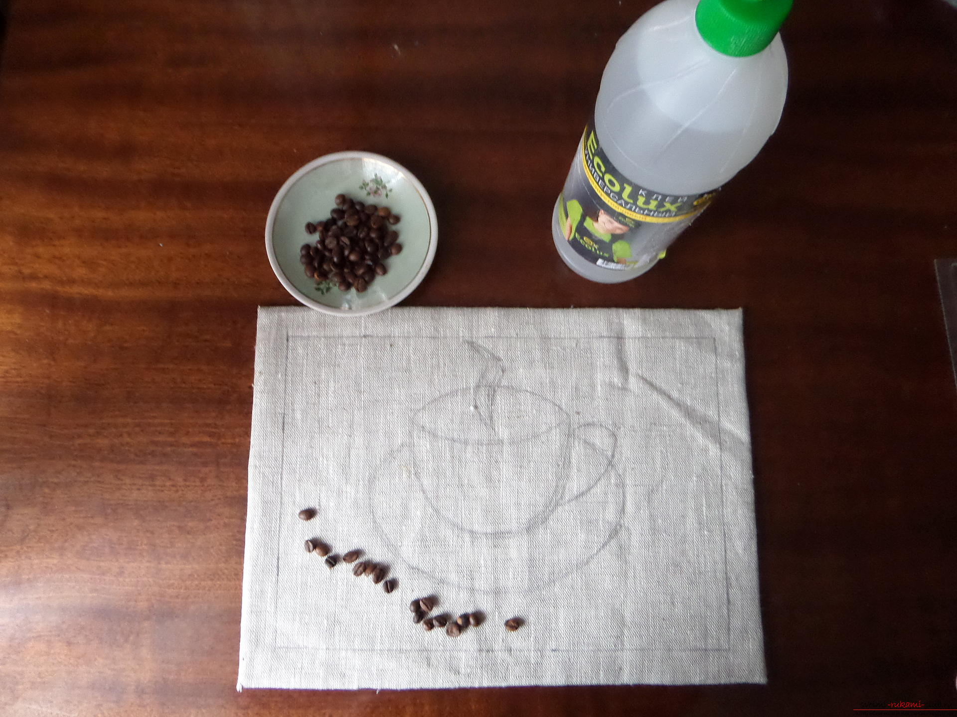 This master class with photo and description will teach you how to make coffee paintings from coffee beans for the kitchen. Photo # 17