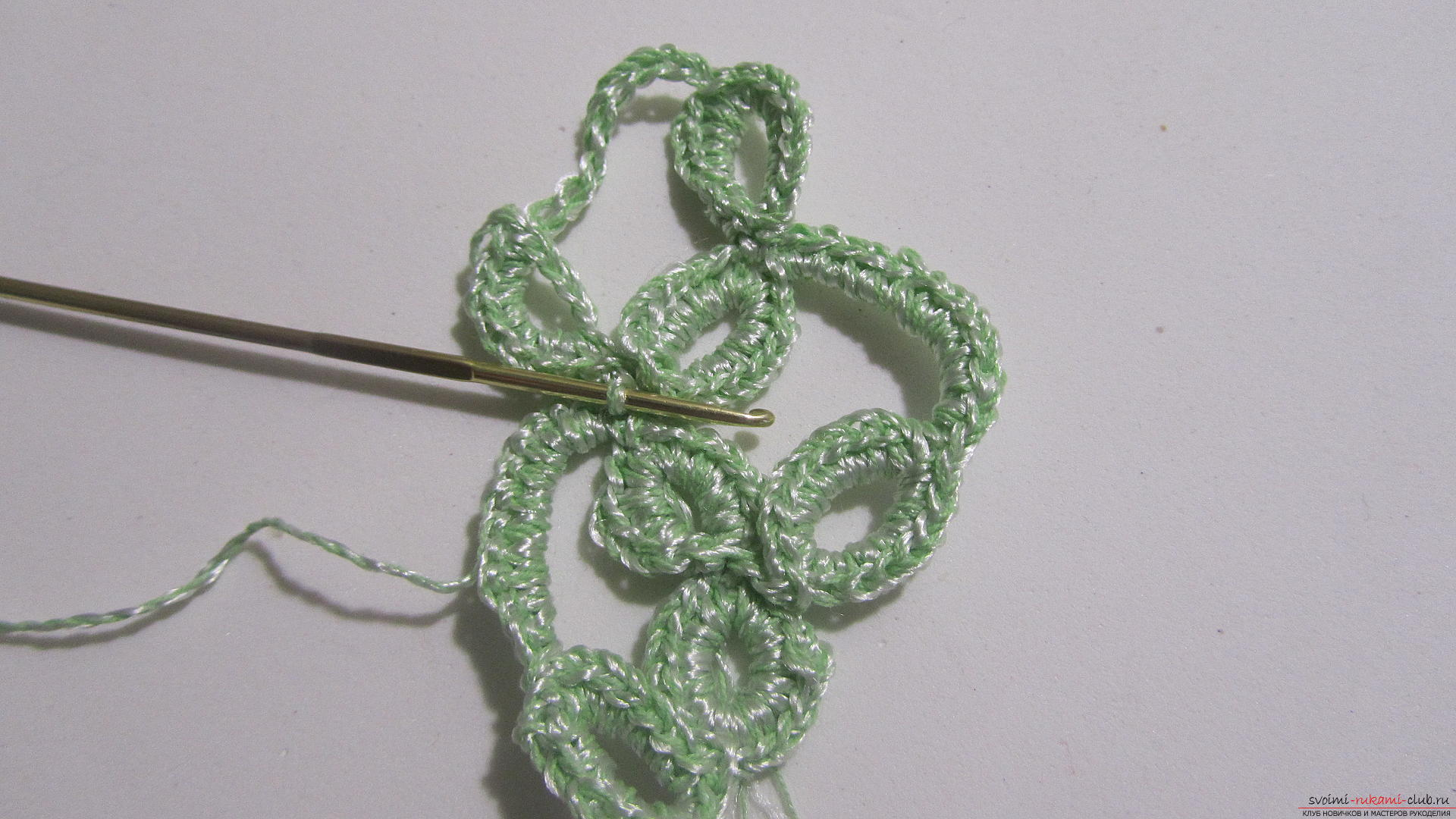 This master class will tell you how to create a crocheted knitted braid in the technique of ribbon lace. Photo №26