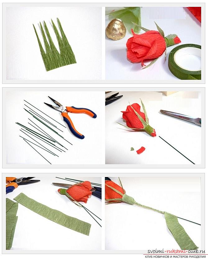 How to make a candy bouquet of roses, step-by-step photos and instructions for creating roses from corrugated paper with candy hearts. Picture №3