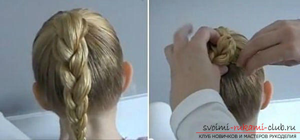 Hairstyles for September 1 for young schoolgirls for hair of different lengths are easy to do on their own. Photo №6