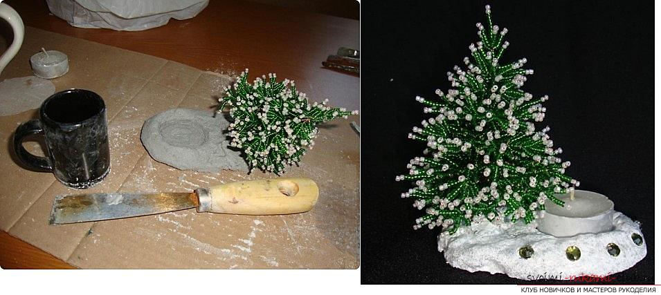 How to weave from beads and wire a New Year's, snow-covered or decorated Christmas tree with their own hands, step-by-step photos and a detailed description. Photo №5