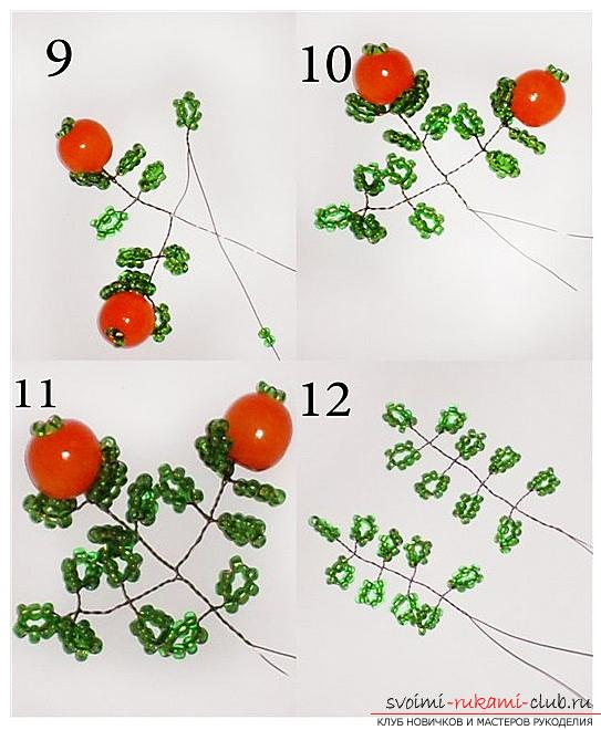 Detailed step-by-step photos and description of weaving of bead trees, two master classes .. Photo # 4
