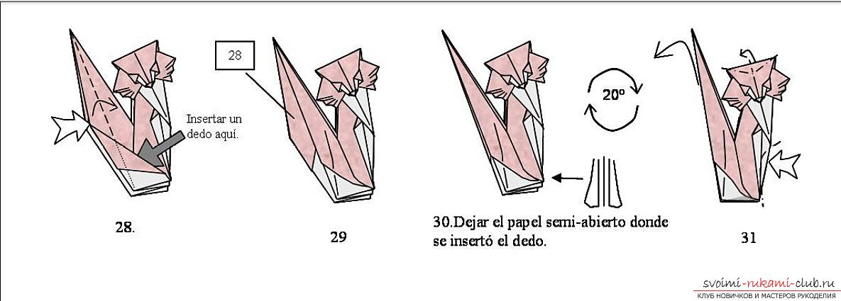 Simple schemes for the addition of cats in the technique of origami. Photo Number 9
