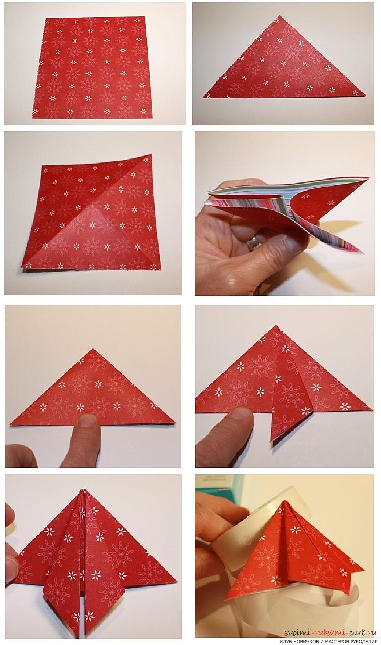 How to make postcards for the New Year with your own hands, step-by-step photos and the description of creating postcards in the technique of kwing, ayris folding, origami. Photo Number 21