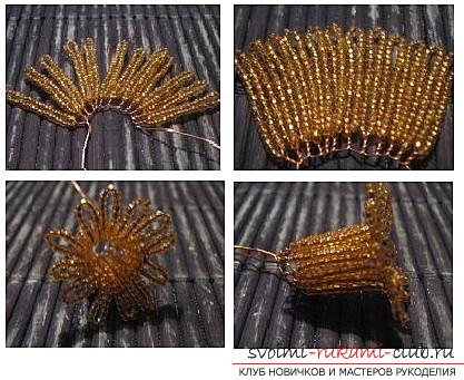 How to weave a flower of narcissus from beads, two variants in different techniques of weaving, diagrams, photos and description. Picture №3
