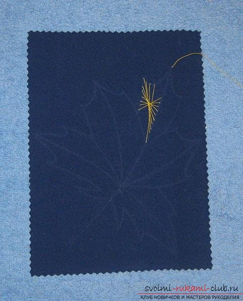 """We embroider the autumn leaf in the technique of """"isolate"""". Photo number 12"""