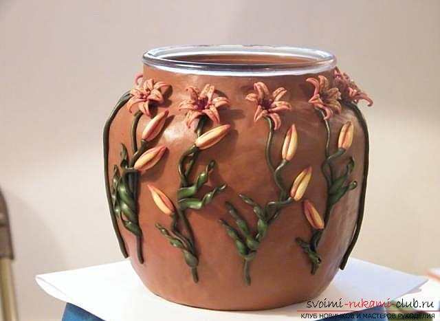 Master class with step-by-step photos, how to decorate a glass pot with polymer clay .. Photo # 27