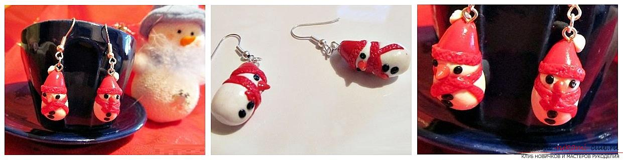 How to make earrings from polymer clay in the form of snowmen, a detailed master class with a photo and description. Photo №1