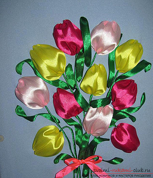 Original embroidery with ribbons of tulips according to the master class with photos and diagrams. Photo №6