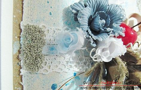 Shebbi-chic postcard for the new year - design of scrapbooking postcards and a master class. Photo №6