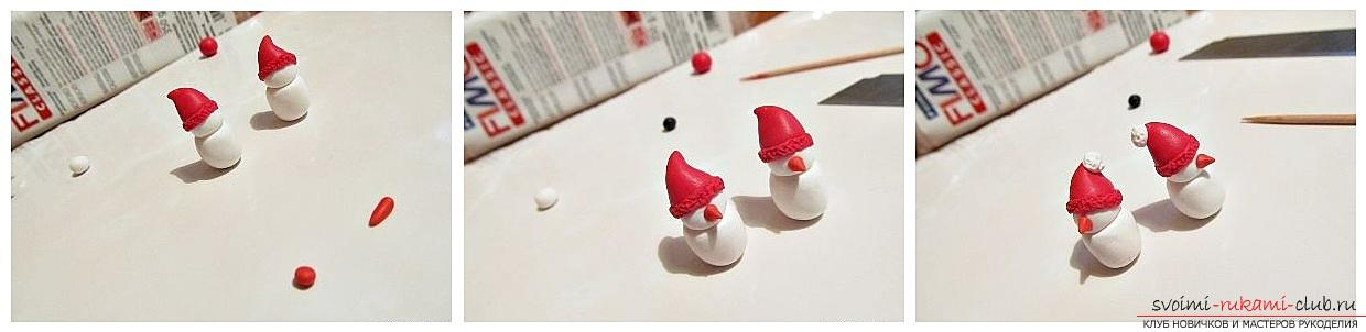 How to make earrings from polymer clay in the form of snowmen, a detailed master class with a photo and description. Photo №4