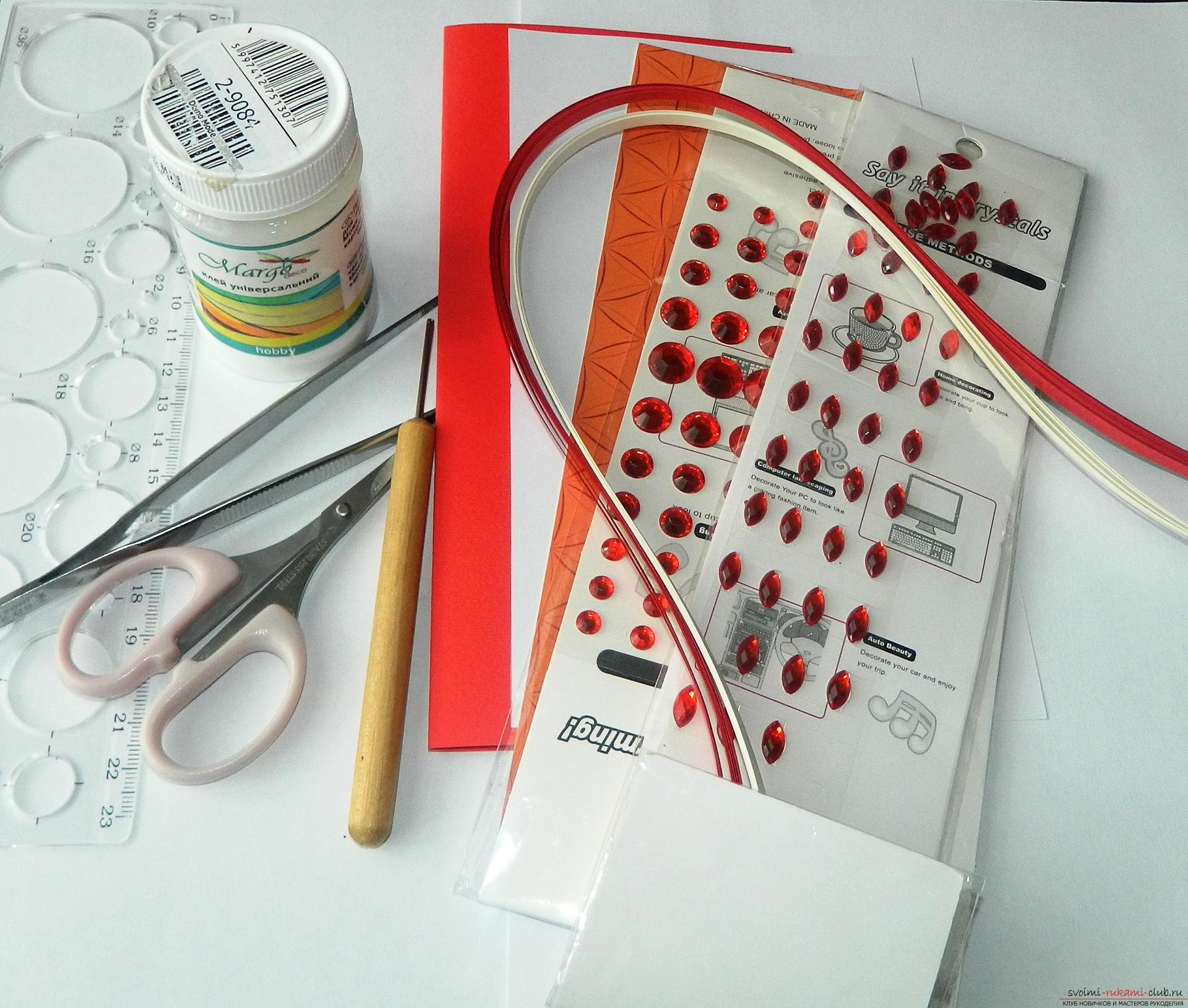 From this detailed master class with a photo you will learn how to create a quilling postcard .. Photo # 2