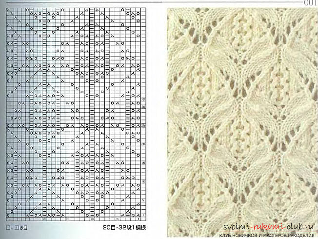 Schemes and descriptions of openwork patterns, knitted needles. Picture №3