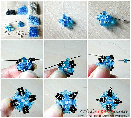 Free master classes with step-by-step photos on weaving earrings from beads .. Photo # 2