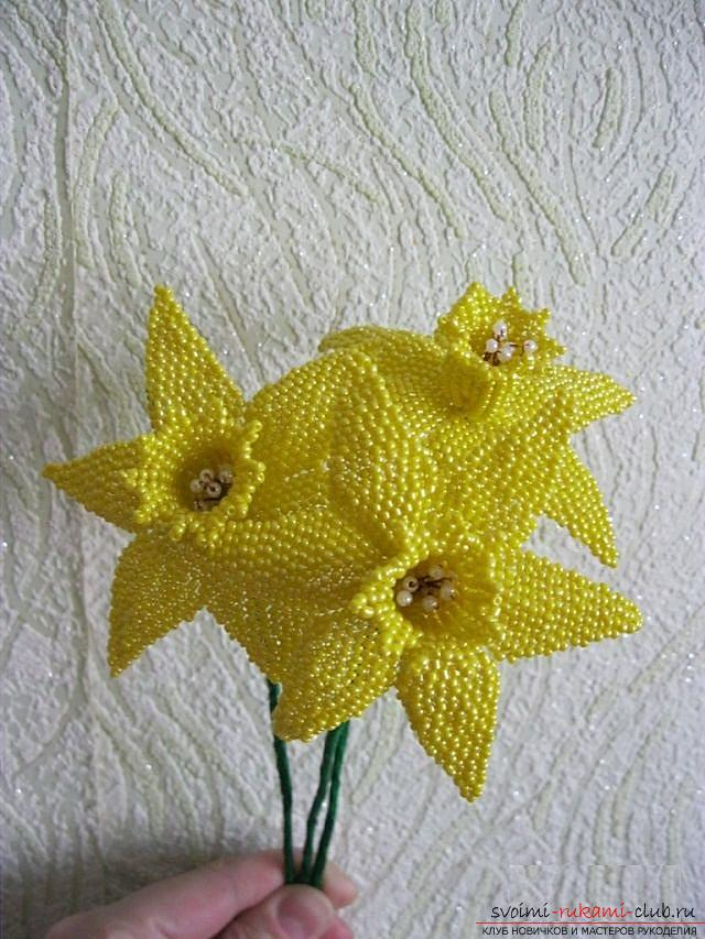 How to weave a flower of narcissus from beads, two variants in different techniques of weaving, diagrams, photos and description. Photo №6