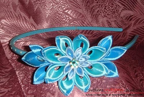 How to make a rim decoration for the hair in the form of turquoise flowers in Kansas technique, free, detailed photos and description. Photo №7