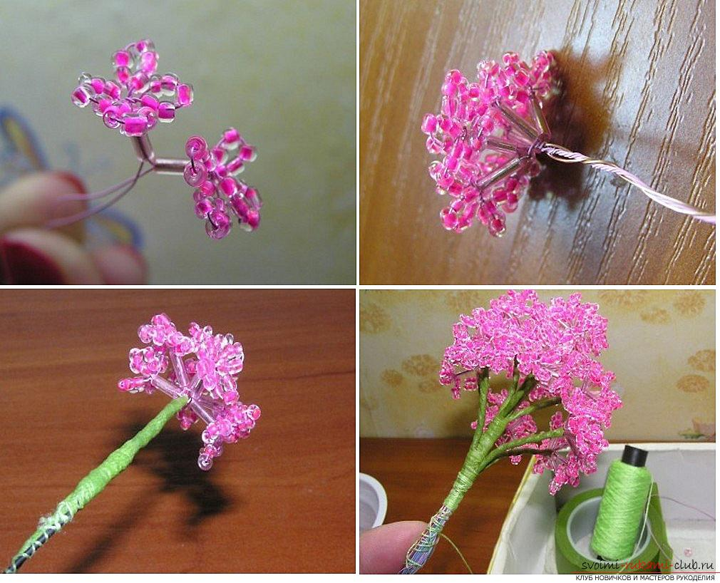 How to make a lilac branch of beads, step-by-step photos and a description of several weaving techniques for beaded floristics. Picture №3