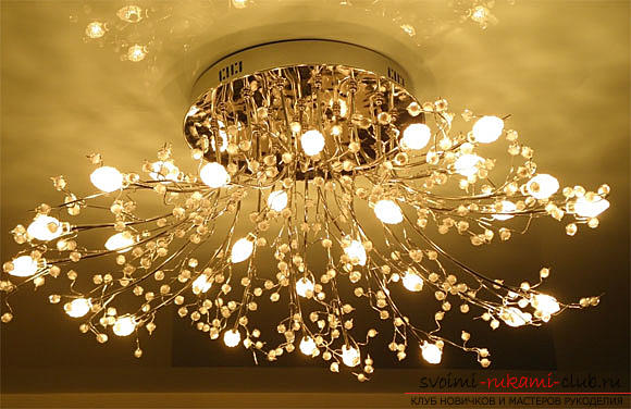 Assembling and fixing the chandelier to the ceiling with your own hands. Photo №1