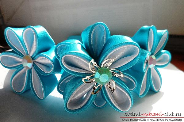 How to make a snowflake Kanzashi own hands for the New Year 2016. Photo # 7
