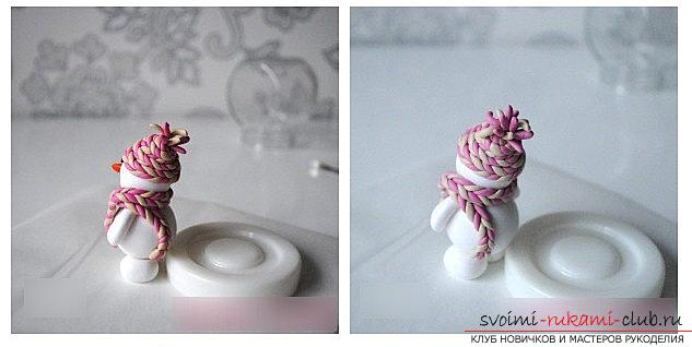 We make a snowman figure from polymer clay - a master class with our own hands. Photo Number 9